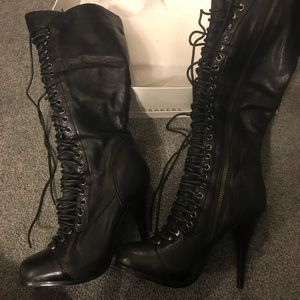 Lace up black boots size 6